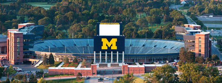 Aerial northern view of the UM Stadium